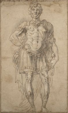 Martin Fréminet (1567-1619), Preparatory Study for a King of Judah and Israel in the Ceiling of the Trinity Chapel at Fontainebleau, Pencil, brown ink, black stone heightened with white, 43.5 x 26.2 cm