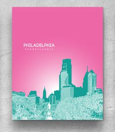 Office Decor Skyline Art Poster / Philadelphia Skyline Version 2 Poster / Any City or Landmark. $20.00, via Etsy.