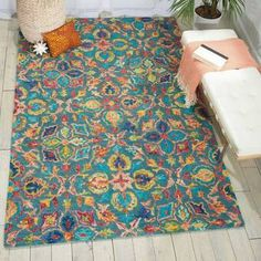 Bungalow Rose Tulsa Handmade Tufted Wool Brown Rug & Reviews | Wayfair Teal Rug, Teal Area Rug, Yellow Rug, Funky Rugs, Target Rug, Cheap Rugs, Area Rugs For Sale, Floral Area Rugs, Contemporary Area Rugs