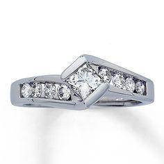 Diamond Engagement Ring 1 carat tw Princess-cut 14K White Gold