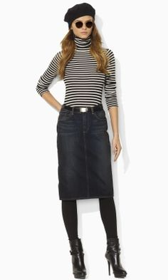 Denim Pencil Skirt - Blue Label Skirts - RalphLauren.com