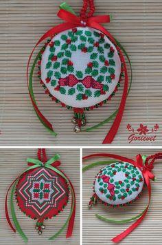 Christmas wreath embroidered ornament Christmas themed gift for her #christmasdecor #wreath #embroidered #ornaments #christmasgifts