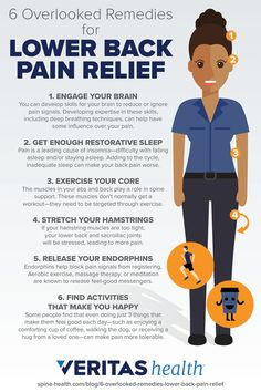 6 Overlooked Remedies for Lower Back Pain Relief Releasing endorphins, getting a good night's sleep, and other simple tips can help make living with low back more bearable. Here are 6 easy to implement remedies that are often overlooked. Severe Lower Back Pain, Middle Back Pain, Upper Back Pain, Back Pain Symptoms, Causes Of Back Pain, Back Pain Remedies, Headache Remedies, South Beach, Low Back Pain Relief