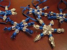Snowflake beaded ornaments very simple
