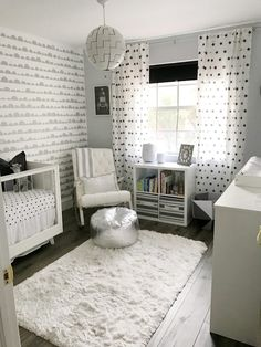 Us Which Project You ♥ the Most Yesssss to this black and white nursery. The touches of gray and silver really make it super glam!Yesssss to this black and white nursery. The touches of gray and silver really make it super glam! Nursery Twins, Baby Boy Nurseries, Nursery Room, Nursery Decor, Monochrome Nursery, Nursery Neutral, Neutral Nurseries, Modern Nurseries, Gold Nursery