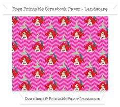 FreeHot Pink Chevron Large Ariel Pattern Paper - The Little Mermaid