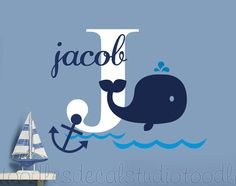 Whale Wall Decal Hampton Whale Decals Anchor by ToodlesDecalStudio
