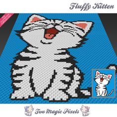 Fluffy Kitten by Two Magic Pixels is a graph that can be used to crochet a blanket using C2C (Corner to Corner), TSS (Tunisian Simple Stitch) and other techniques. Alternatively, you can use this graph for knitting, cross stitching and other crafts. This graph design is 80 squares wide by 100 squares high. It requires 4 colors for the character and one color for the background. Pattern PDF includes: - color illustration for reference - color squares pattern Images only. There are NO writt...