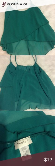 Green blouse Layered green blouse. Size small. Worn once. Poetry Tops Blouses