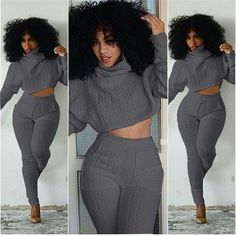 ca885c0966b7 New Two Piece Outfit White Bodycon Bodysuit Club Rompers Womens Jumpsuit  Overalls Turtleneck Long Sleeve Crop