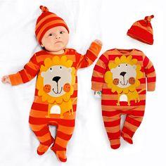 Stripe Lion Cute Baby Boys Clothes Newborn Rompers Hat Sets Orange Bebe Pajamas Suit Jumpsuit