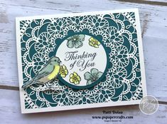 Beautiful Laser-Cut Card DIY Handmade Thinking Of You Card featuring the Bird Ballad Laser-Cut Cards and the Free As A Bird Stamp Set. I love the delicate look of the laser-cut card base which I backed with Pretty Peacock Cardstock Laser Cut Paper, Bee Cards, Stampin Up Catalog, Stamping Up Cards, Butterfly Cards, Sympathy Cards, Paper Cards, Scrapbook Cards, Homemade Cards