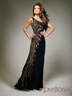 Tony Bowls Evenings TBE11355 Black Jersey One Shoulder Prom Dress