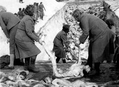 Bergen-Belsen, Germany, 1945, Female camp guards being forced to bury the Jews that were murdered