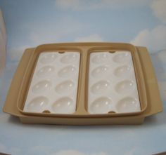 My mother still has hers!! Love this! deviled egg platter - vintage tupperware