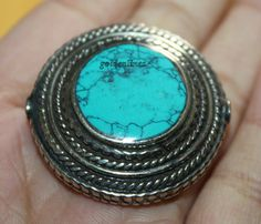 Nepalese Tibetan turquoise beads metal Beads 1 bead by goldenlines