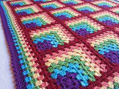 rainbow baby blanket - bright rainbows baby blanket - crochet baby blanket - handmade by RockinLola Granny Square Crochet Pattern, Afghan Crochet Patterns, Crochet Squares, Crochet Granny, Crochet Motif, Baby Blanket Crochet, Crochet Baby, Knitting Patterns, Rainbow Crochet