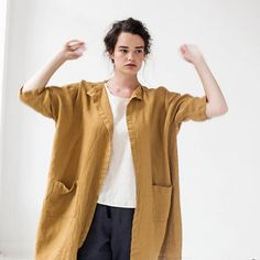 Washed oversized long linen kimono in amber yellow / Linen