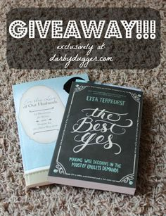 This week only... enter to win an autographed copy of Lysa TerKeurst's latest book, The Best Yes. Along with an autographed copy of For the Love of Our Husbands by Darby Dugger!