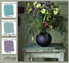 Inspiration for today's Annie Sloan Chalk Paint® color palette comes from Ikea Sweden. If you have an old side table use Provence and Duck Egg Blue on the top and legs. Annie Sloan Chalk Paint Colors, Annie Sloan Paints, Ikea Inspiration, Design Seeds, Paint Color Palettes, Chalk Paint Projects, Hue Color, Deco Boheme, Blog Deco