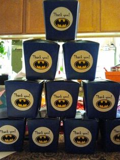 Batman favors. Candy in Chinese takeout boxes