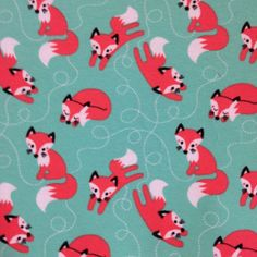 1.1 YARD 1 meter Organic jersey fabric 'Foxes mint' by by ByBora, $28.50