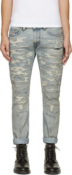 6372b13a04e136 Diesel Blue Distressed Thavar Jeans, Slim-fit jeans in light blue. Fading  and