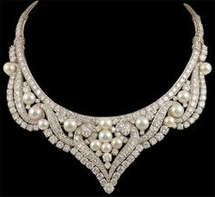 Pearl, Diamond, and Platinum Necklace by David Webb, circa 1960s.