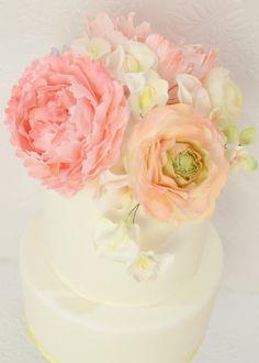 Cherie Kelly's Sugar Peony, Ranunculus and Rose Pastel Colour Wedding Cake