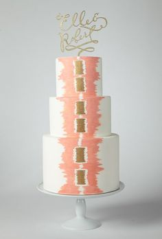 Gold and pink handpainted wedding cake
