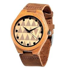 Wooden Watches Bamboo Wood Soft Leather Strap Unisex Wooden watch (if I was a guy, I'd 100% get this)