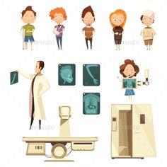 Bone Injury X-ray Cartoon Icons Collection