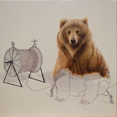 Bear. Surreal Illustrations of Animals in Mid-Construction. By Ricardo Solis.