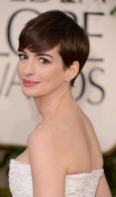 Anne Hathaway Side Pixie Cut Hairstyle Golden Globes