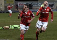 Jack Redshaw celebrates giving Morecambe the lead.