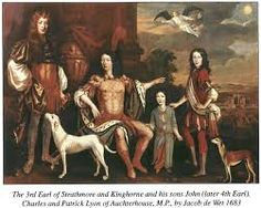 Patrick Lyon, Earl of Strathmore and Kinghorne with his 3 sons: John, Lord Glamis, Lord Charles Lyon and Patrick Lyon of Auchterhouse. Bowes Lyon, Lady Elizabeth, Scotland Castles, My Family History, Scottish Clans, Castle House, British Isles, Adele, Art History