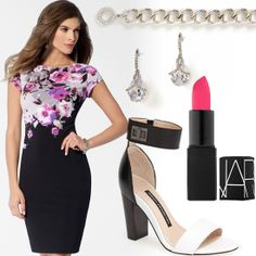 Floral sheath dress and jewels from Caché lipstick by NARS, shoes - french connection #HeadToToeThursday