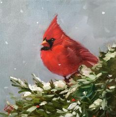 """Daily Paintworks - """"Northern Cardinal"""" - Original Fine Art for Sale - © Krista Eaton"""