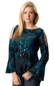 Ethyl® Women's Turquoise and Navy with Velvet Floral Paisley Print Cold Shoulder Long Sleeve Fashion Top | Cavender's