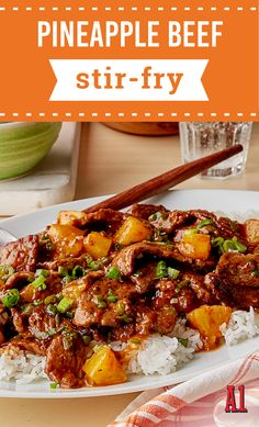 Pineapple Beef Stir-Fry – Juicy pineapple chunks lend a touch of sweetness to this quick beef stir-fry recipe! Served over rice, this dinnertime dish has all the right amount of zip and flavor.