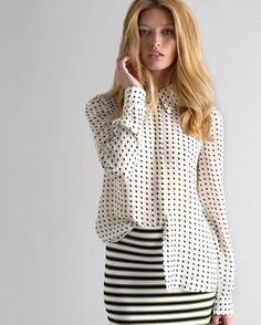 stripes on polka dots Two-Day Flash Sale | Shop Extra 50% Off: A.L.C. Carolynn Open Back Happy Pill Print Blouse.