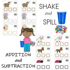 Activity using double sided countersKindergarten and First GradeAddition and Subtraction 28 mats each x for math center practice. Subtraction Kindergarten, Kindergarten Learning, Teaching Phonics, Teaching Writing, Activity Centers, Math Centers, First Grade Addition, First Grade Lessons, Math Boards