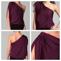 "🎉HP🎉ALICE + OLIVIA Plum One Shoulder Top One shoulder Plum, Silk-blend Alice + Olivia ""Hannah""top with rouched shoulder. Brand new, with tags. Size Large. Bust is 17 inches across, with a little stretch taking it to ~19 inches. Purchased from Bluefly. Pet/smoke free home.  🎉Host Pick🎉 Pretty, Girly and Flirty Party🎉 02/11/17🎉 Alice + Olivia Tops Blouses"