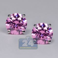 Womens Pink Swarovski Crystal Round Stud Earrings White Gold Screw Back Closure Small Earrings, Pink Earrings, Womens Earrings, Stud Earrings, Pink Stone, White Gold, Solid Gold, Simple Jewelry, Purple Amethyst