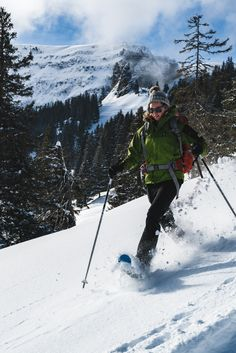 Running with snowshoes on takes a bit of practice. One of the Outdoor Interlaken guides showing how it's done! Snowy Forest, Snowshoe, Mountain Village, Find People, Winter Wonder, People Of The World, Switzerland, Mount Everest, Skiing