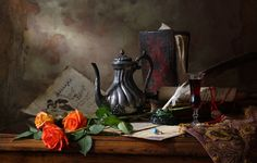 Still life with teapot and roses by Andrey Morozov