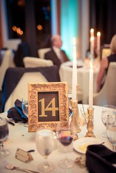 Gold accent pieces and tablescape for a Great Gatsby-themed wedding reception   Matt Steeves Photography   DIY table numbers
