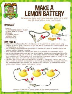 Lemon Battery - Animal Jam Academy Source by gwynethxjones Science Experiments Kids, Teaching Science, Science For Kids, Science Activities, Life Science, Easy Science, Science Daily, Summer Science, Kindergarten Science