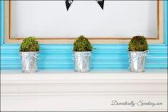 Domestically-Speaking.com:  Beautiful blue & green Spring Mantel