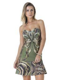 Vestido Estampado Godê Folhas - Lez a Lez
